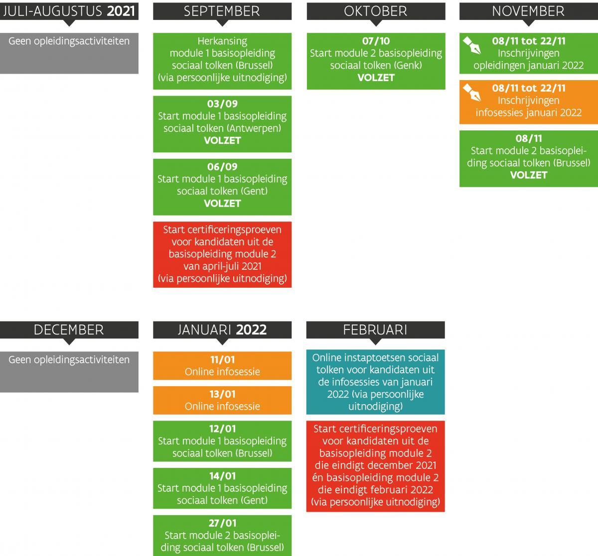 Kalender Certificering Sociaal Tolken 2021