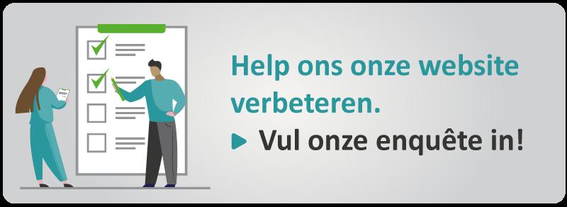Knop - Help ons onze webwite verbeteren. Vul onze enquête in!
